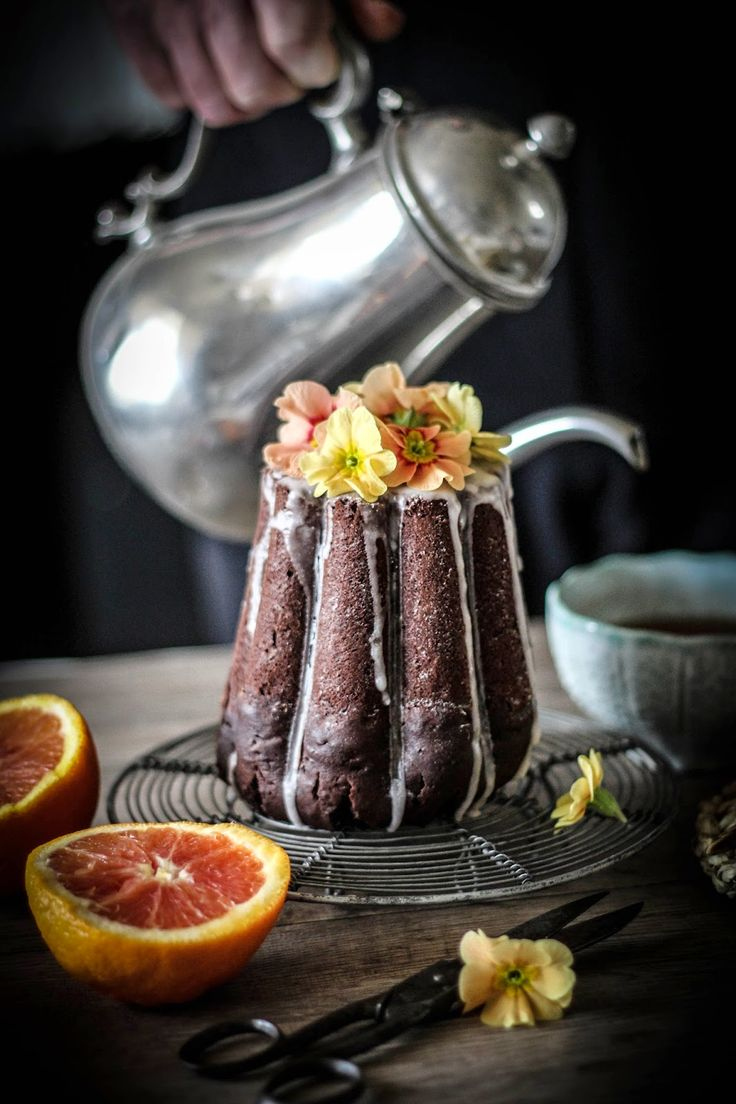 blood orange chocolate cake with cacao nibs