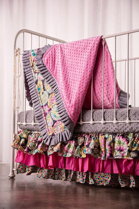 Crib Bedding Set includes ruffled skirt fitted by ElonkaNichole, $375.00 www.elonkanichole.com