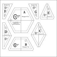 diagram-of-ultimate-set-of-hexagon-templates Included in the set are:      Two design sheets, use one to work on, use the other for photocopying     Instructions on how to sew hexagons without papers.