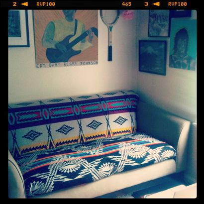 pendelton blanket on couch