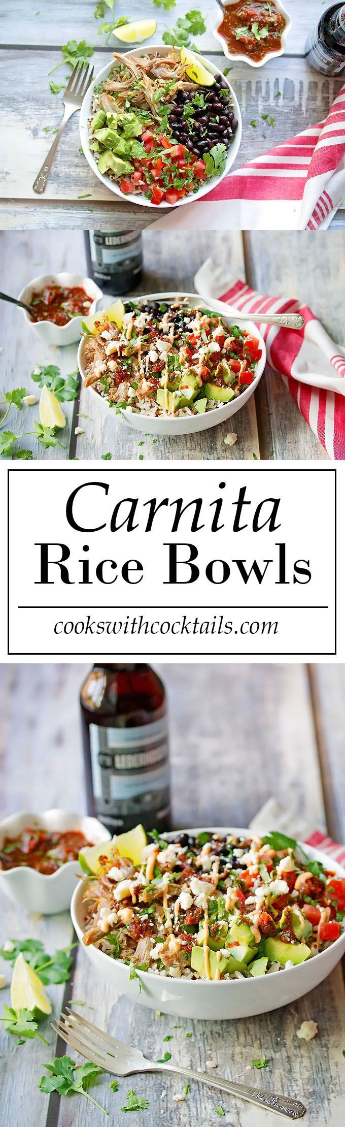 Carnita Rice Bowl Recipe - with avocado and black beans
