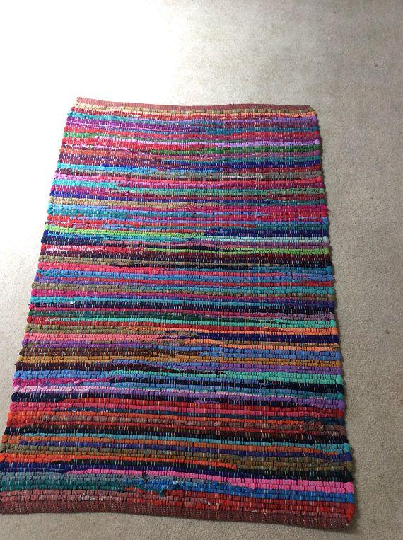 Rag Rug / Chindi Floor j / Scandinavian Area Rug Boho Chic