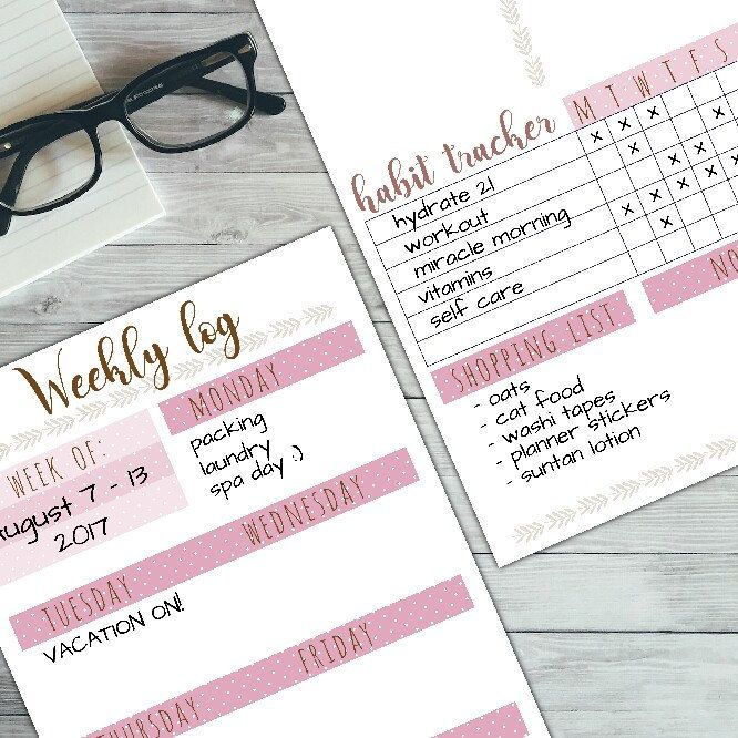 New, pink polka-dot monthly & weekly printable planner kit! Fits for every week and month, cute design, 3 pages, reusable, so?