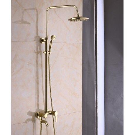 Mosiężny prysznic w kolorze złotym.