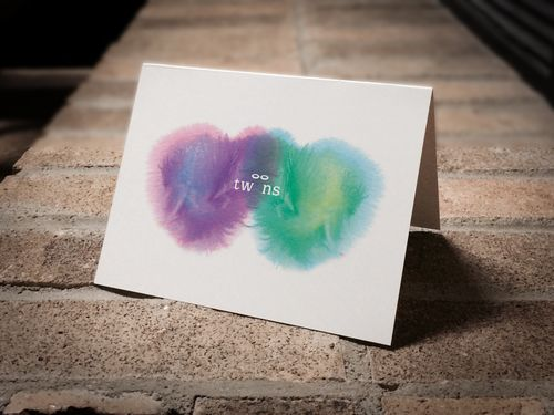 Sympathy card for loss of boy/girl twins.
