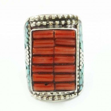 Mosaic Carnelian Tiles Silvertone Jewelry Women Fashion Ring Jewellery Sz 10.75
