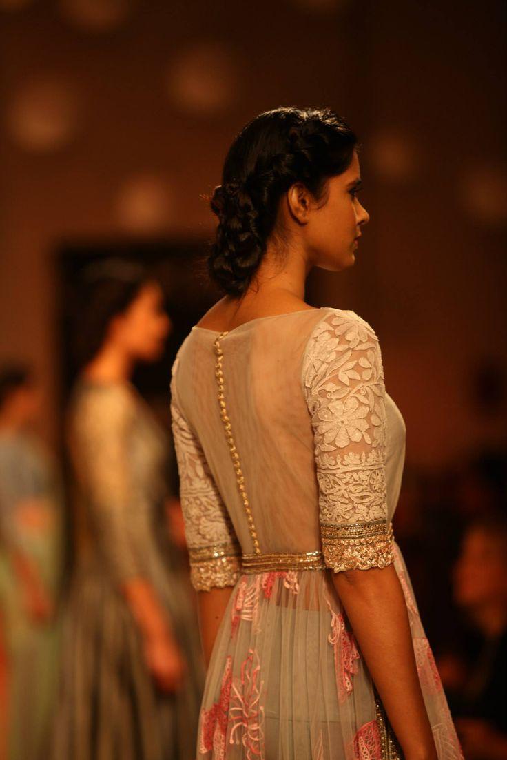 """You got my back"". Net, Lace & Sheer, a beautiful pleasant combination. Manish Malhotra | LakmeFashionWeek2013"