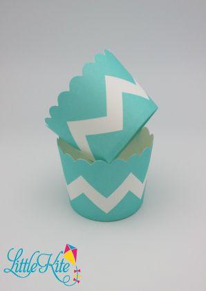 Teal aka Tiffany Chevron cupcake baking cups