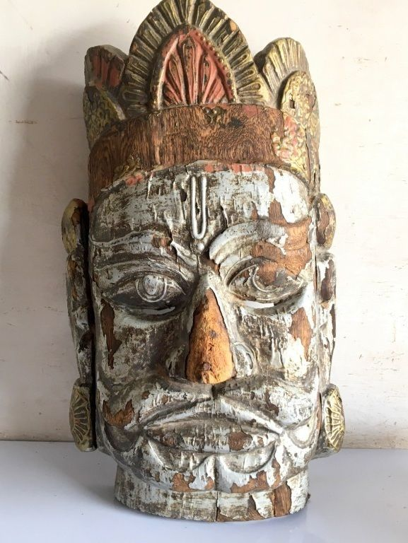 Indian Antique Wood Hand Craved Emboss Painting Wall Decor Lord Hanuman Mask  #ArtDeco
