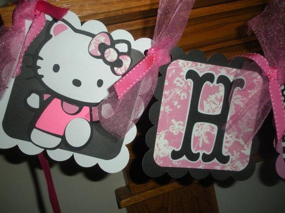 Hello Kitty Happy Birthday Banner Matching Pom Poms by PartysOn, $26.00