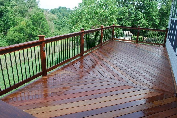 Metal Porch Railing | IPE DEck and Railing with Aluminum balusters and lighting - Hardwood ...
