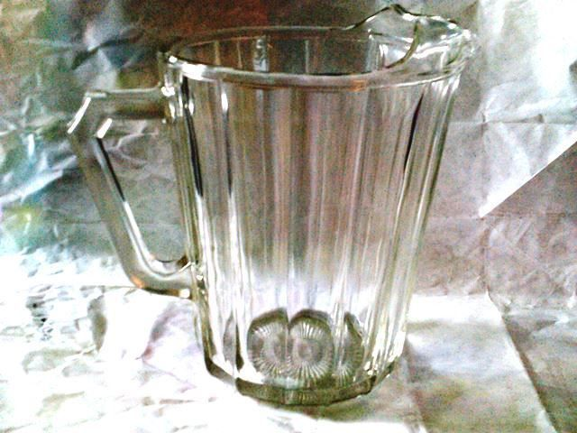 Antique very old glass water pitcher-table jug paneled pattern