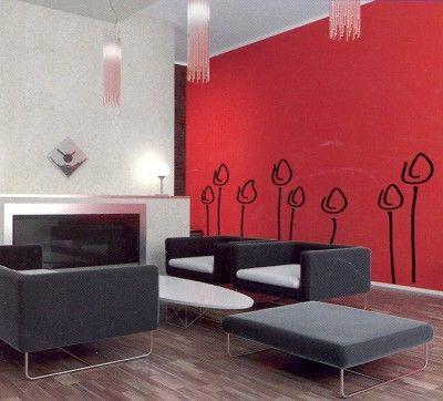 decoracin de una sala con paredes rojas para ms informacin ingresa en http