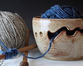 Bridges Pottery Large Yarn Bowl Large Knitting Bowl Nutmeg Knitting Bowl Custom Order seen in Vogue Knitting