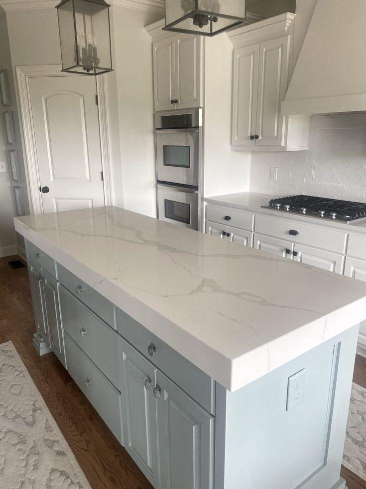 thick quartz counters calcutta vintage white kitchen blue island white quartz bu in 2020 on kitchen island ideas white quartz id=70727