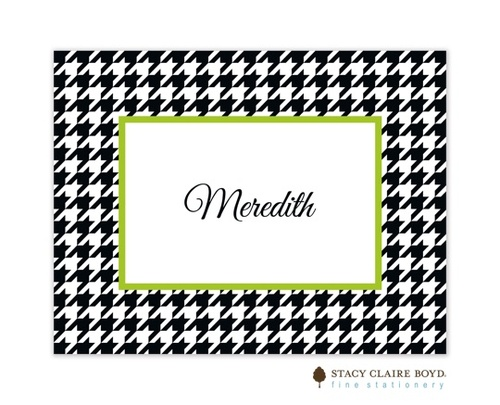 Stacy Claire Boyd Hip Houndstooth Green Folded Note!