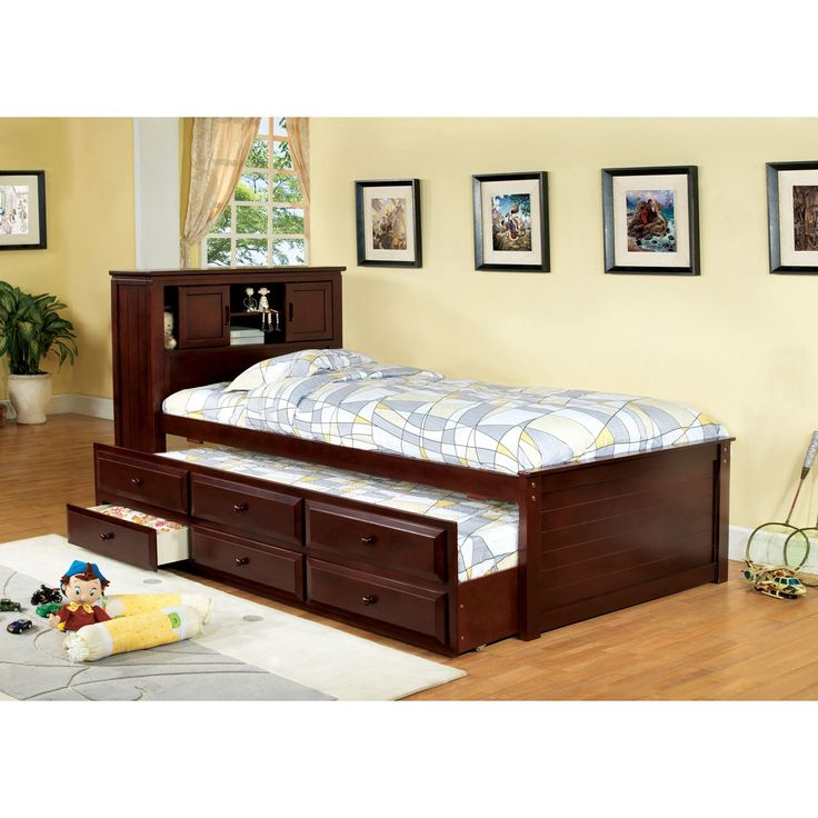 Furniture Of America Brighton Twin Bookcase Headboard Storage Bed With Trundle And Drawers From Hayneedle
