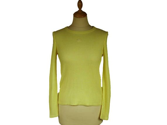 Vintage 1970s COURREGES yellow sweater Logo AC Made in