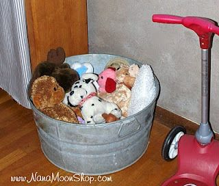 Galvanized Tub Toy Storage.... great idea for Tate's rustic farm room.