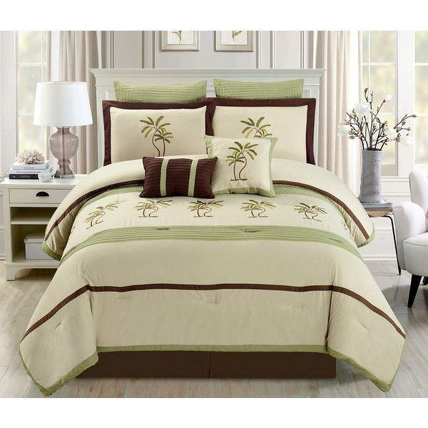 8 Piece Oversize Sage Green Beige Brown Tropical Palm Tree Embroidered 59 Liked On P Tropical Bedding Sets Luxury Bedding Master Bedroom Comforter Sets