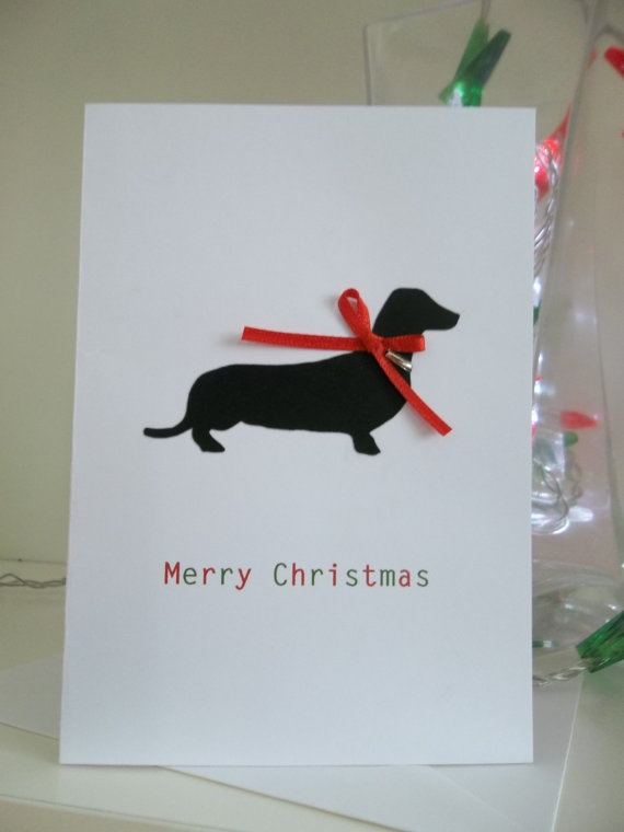 Cute Daschund Sausage Dog Christmas Card by kirstybaker on Etsy, £2.25