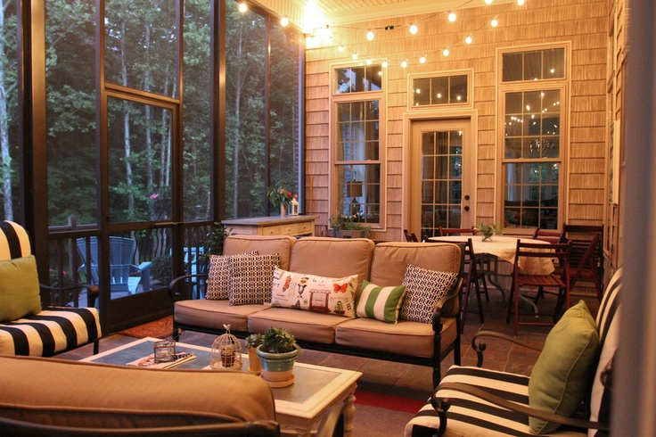 Screen porch with string lights