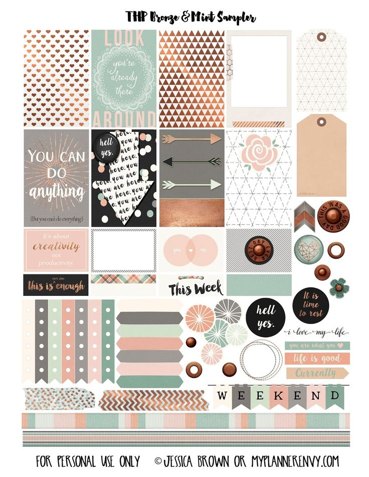 Free Printable Bronze & Mint Sampler for the MAMBI Happy Planner