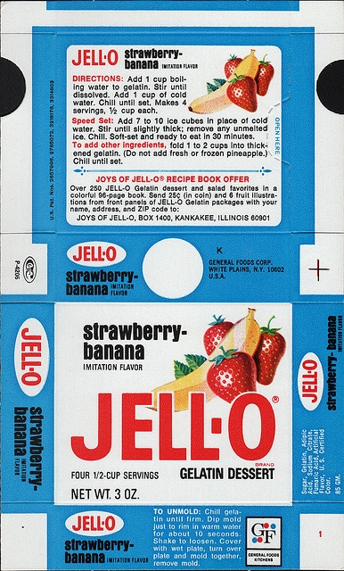 General Foods Jell-O Strawberry-Banana Gelatin Dessert box file flat - May 3 1971 by JasonLiebig, via Flickr