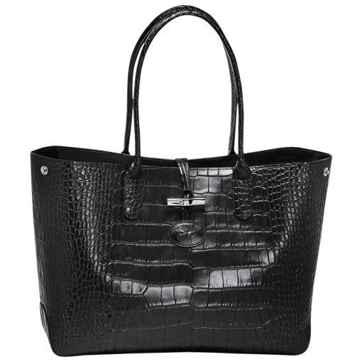 Roseau Croco Sac shopping  Réf : 2686859001  DIMENSIONS 36x26x11 cm  Noir  420,00 €