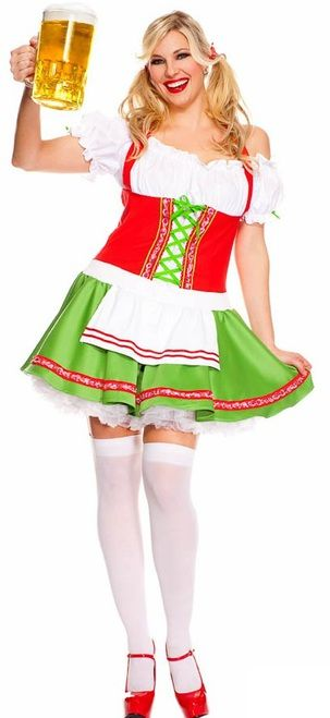 Oktoberfest Darling Ladies Plus Costume - Get into the festive spirit this year this with Oktoberfest Darling plus costume! Auf uns! Cheers!  It comes with a peasant style dress with faux corset and fun skirt. Hair ribbons and tights are also included. Add a petticoat for extra volume. The Oktoberfest Darling is perfect for Halloween, themed parties and drinking beer!  #YYC #CAlgary #costume #Oktoberfest #OktoberfestDarling