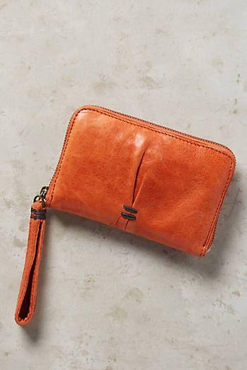 Tangerine Pleated Wallet