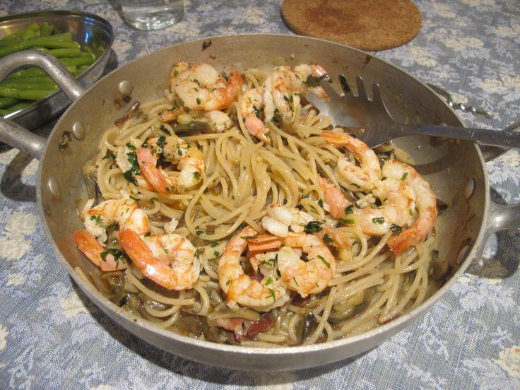 Spaghetti Verrigni Recipe with Artichokes, Prawns, Pancetta and Pecorino