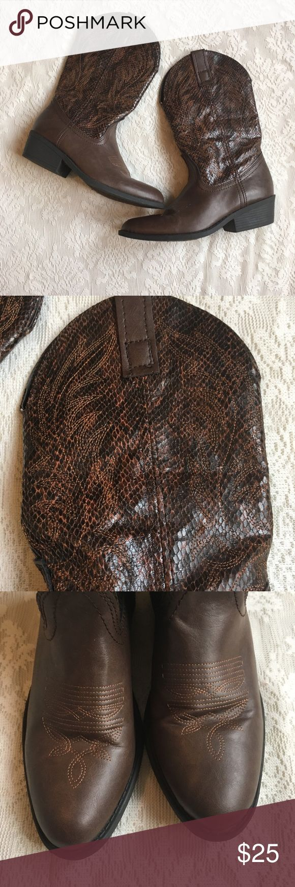 Rampage Walden faux snakeskin cowboy boots Super cute faux snake skin cowboy boots. These boots are a great pair to have in your closet because they go with so much! The bottom has a little bit of wear, but otherwise in excellent used condition! Rampage Shoes