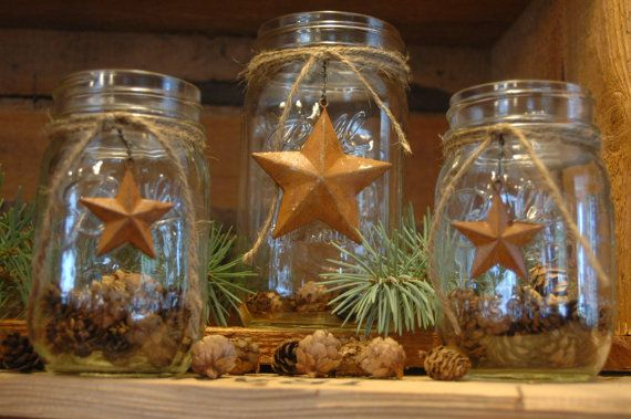 Rustic set of 3 Mason Jars with Barn Stars for your holiday decor. $25.00, via Etsy.