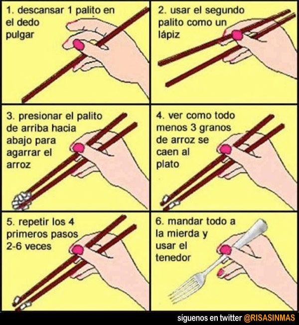 Cómo usar bien los palillos chinos.