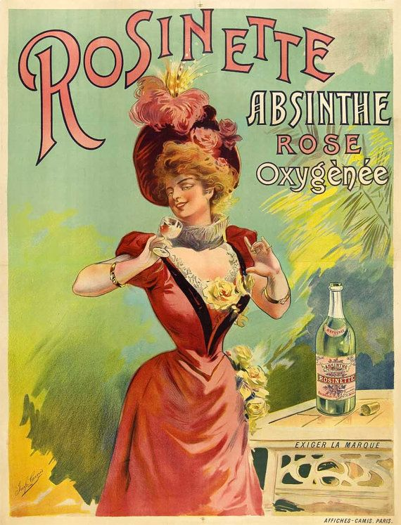 French home decor poster Absinthe Rosinette Rose Oxygénée Belle Epoque pink lady 15 x 21 cm