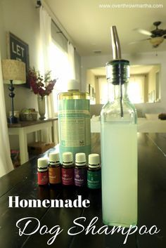 How to make easy homemade dog shampoo. Can be helpful for dry skin, allergies and fleas #dog #DIY #essentialoils