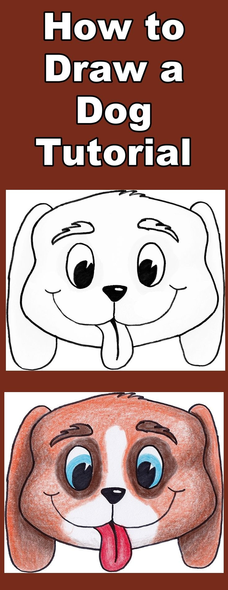 Follow the video as you learn how to draw and then color this cute cartoon dog. Includes a free downloadable coloring page.