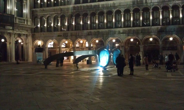 Giant sunglasses at night in St. Mark's square.