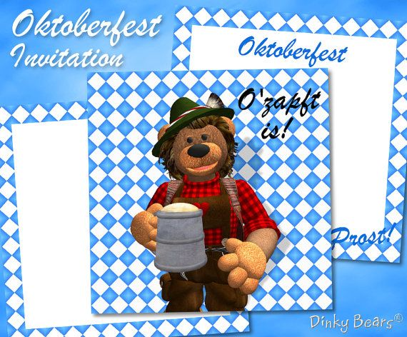 Funny Bavarian Dinky Bear Oktoberfest Invitation Digital Download by DinkyPrints at Etsy