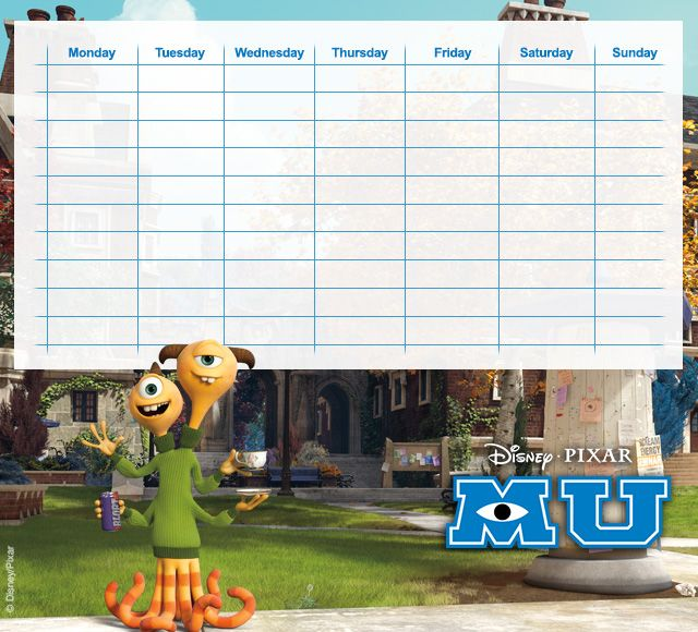Monsters University Timetables 12