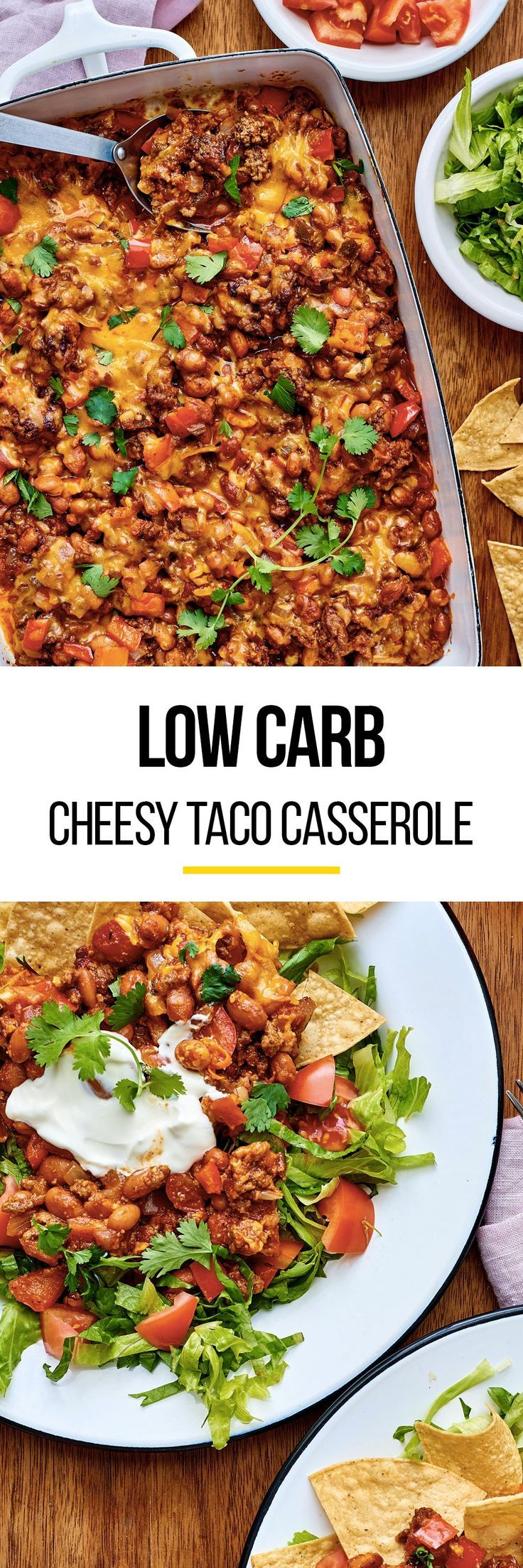 Ground Beef Taco Casserole Recipe. This comfort food meal is perfect for cold weather in the winter or fall. Need Taco Tuesday or quick weeknight recipes and ideas? This easy healthy and protein packed meal is one of the tastiest casseroles for dinner. Families of adults and kids love this simple meaty main! You'll need ground beef, onion, red bell pepper, garlic, pinto beans, spices, and tomato salsa. Low carb!