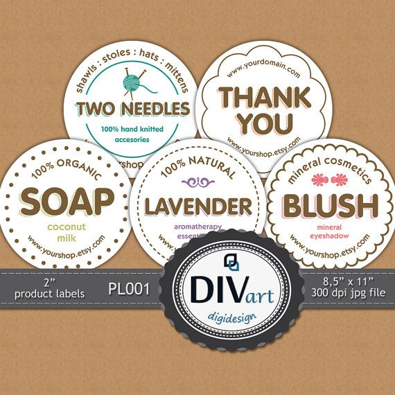 PRINTABLE Premade 2 Product Labels  PL001  Thank you by DIVart, $6.00