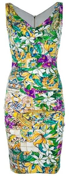 Dolce & Gabbana Sleeveless Dress in Floral (green)