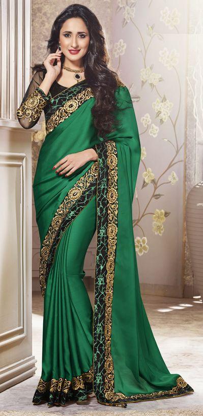 Green Embroidered Satin Wedding Saree 40061