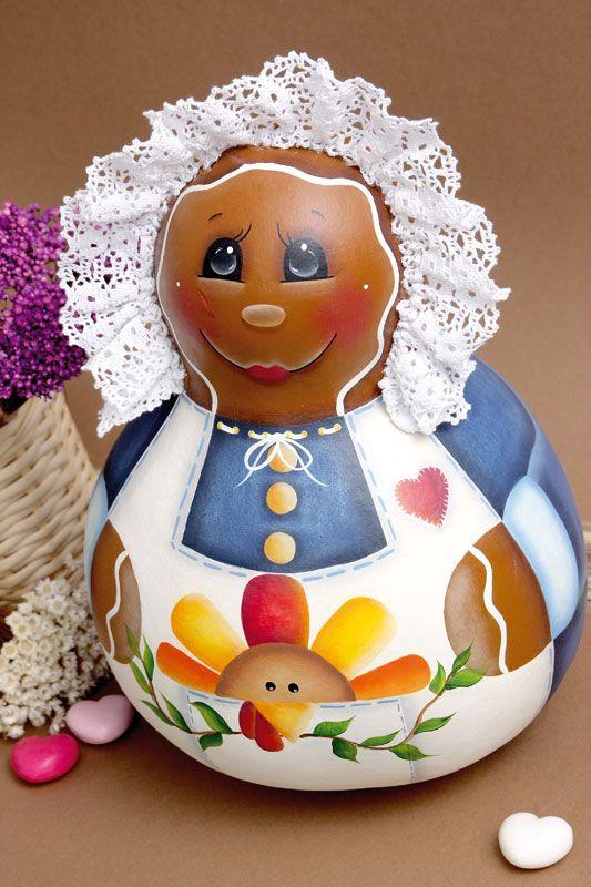 www.portaldeartesanato.com.br -Pintura de boneca em cabaça