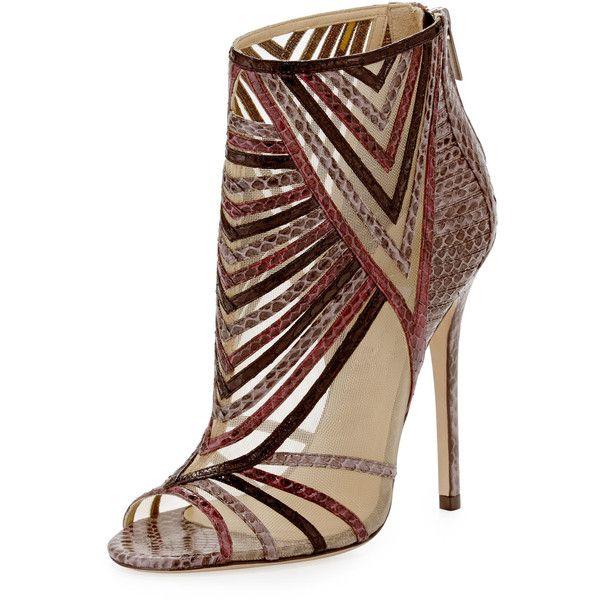 Jimmy Choo Kara Peep-Toe Snake Ankle Bootie ($810) ❤ liked on Polyvore featuring shoes, boots, ankle booties, heels, chaussures, scarpe, multi colors, snake print booties, peeptoe booties and snake boots
