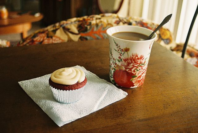 homemade red velvet cupcake and coffee for breakfast by bonniecakes, via Flickr
