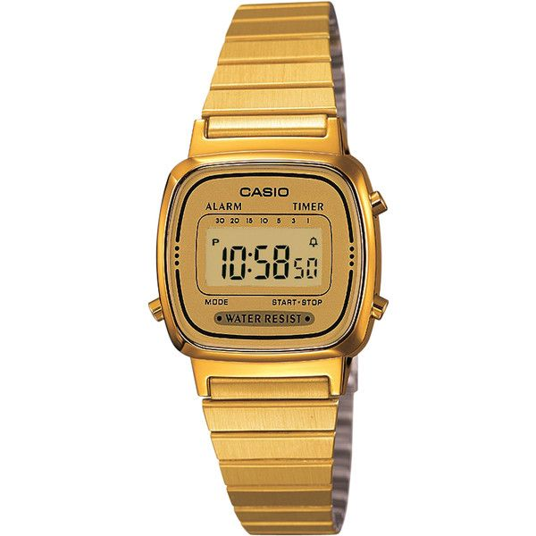Casio Womens Digital Watch Gold ($46) ❤ liked on Polyvore featuring jewelry, watches, accessories, gold, women, gold digital watch, yellow gold watches, gold jewellery, casio and gold wrist watch