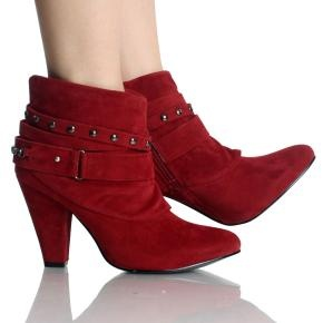 $26.99 Red velvet chunky high heeled ankle boots (Sizes 5-10)